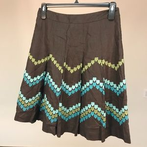 Loft 100% Linen Brown Pleated Embroidered Skirt